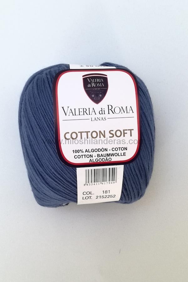 Ovillo de algodón de Valeria di Roma 50g mod. Cotton Soft color azul