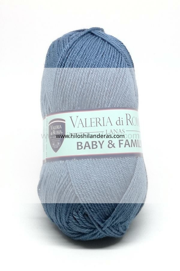 Madeja de lana superwash Valeria di Roma 50 grs mod. Baby & Family color azulón