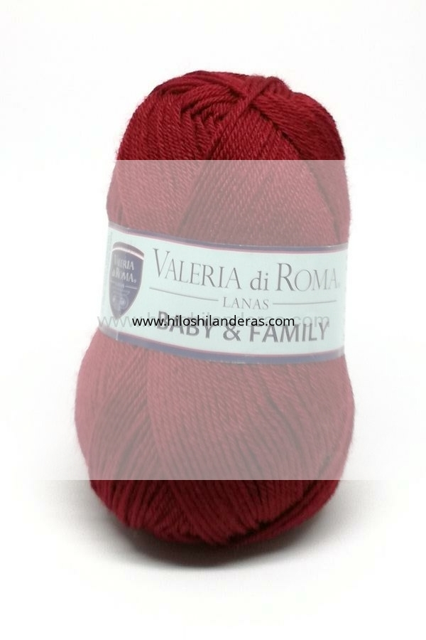 Madeja de lana superwash Valeria di Roma 50 grs mod. Baby & Family color burdeos