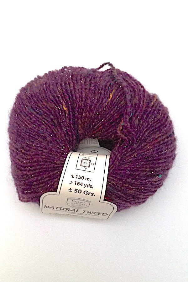 Madeja de lana y mohair Valeria di Roma 50 gr 3,5 - 4 mm mod. Natural Tweed color morado