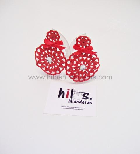 pendientes de crochet color coral